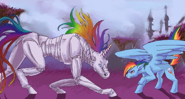 Old Art] Rainbow Dash Meet Robot Unicorn  By Nereza