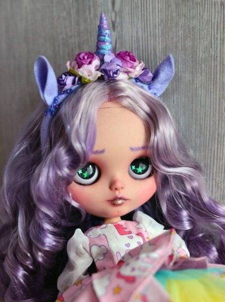Ooak Custom Blythe Tbl, Girl With Violet Hair, Cute Unicorn Doll