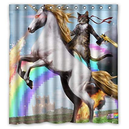 Personalized Funny Unicorn And Cat Shower Curtain, Shower Rings
