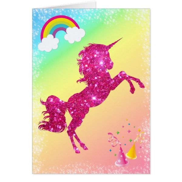 Pink Glitter Unicorn Card
