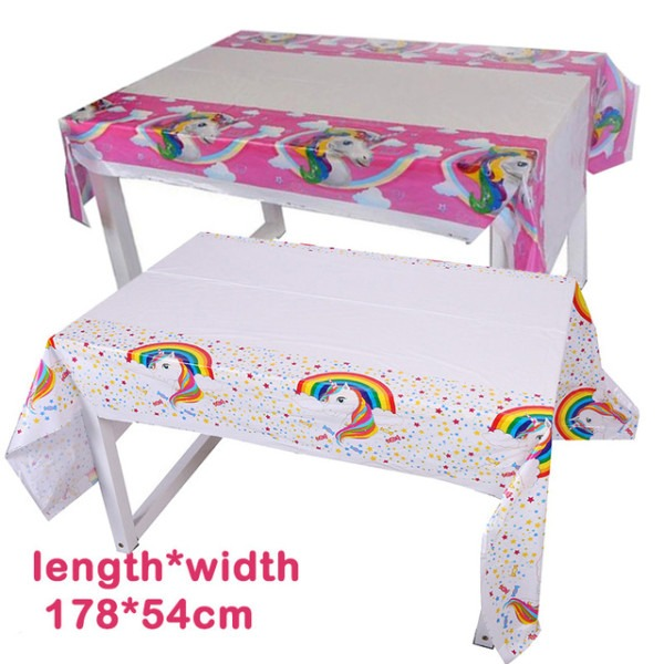 Pink Unicorn Party Plastic Tablecloth Unicornio White Tablecover