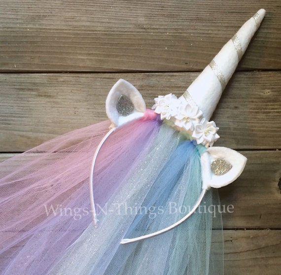 Princess Celestia Unicorn Headband Veil Handmade Pony Kids