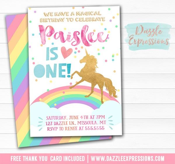 Printable Rainbow Unicorn Birthday Invitation