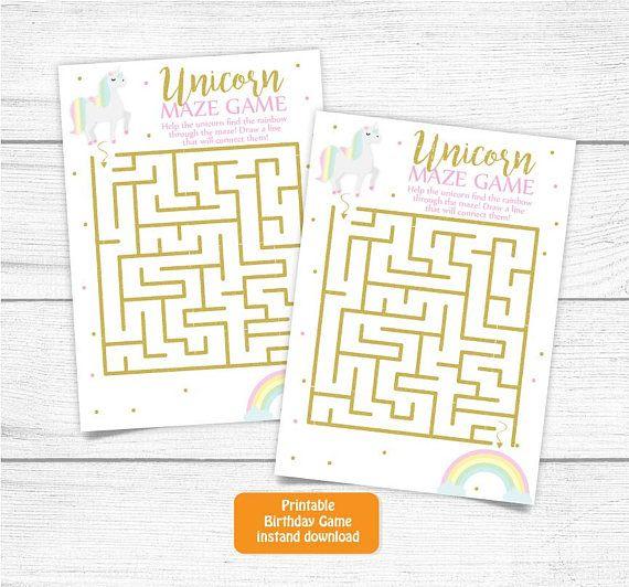 Printable Unicorn Birthday Game Cards, Rainbows And Unicorns
