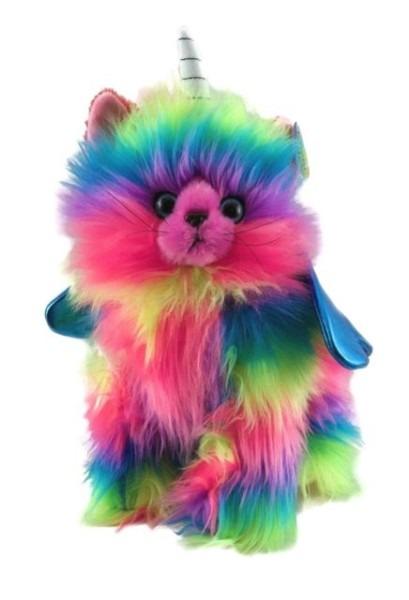 Rainbow Butterfly Unicorn Kitten Stuffed Toy With Light Blue Wings