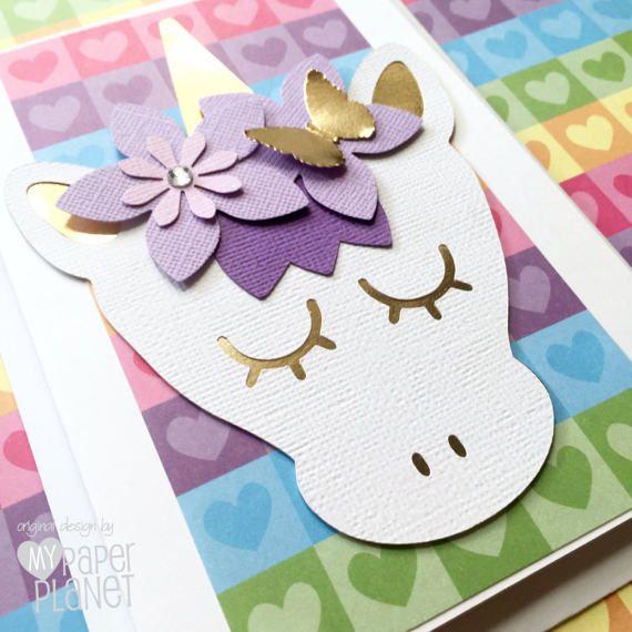 Rainbow Unicorn Greeting Card, Purple, White & Gold  Blank