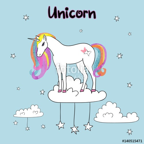 Rainbow Unicorn Vector Illustration   Stock Image And Royalty