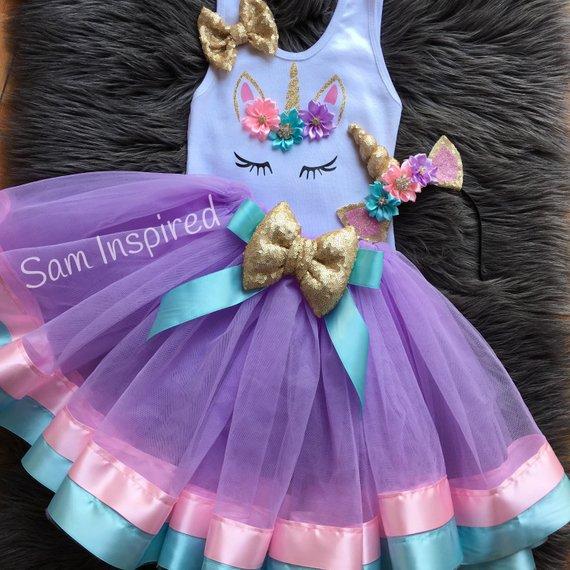 Ribbon Tutu   Unicorn Tutu   Birthday Outfit   Girl Birthday
