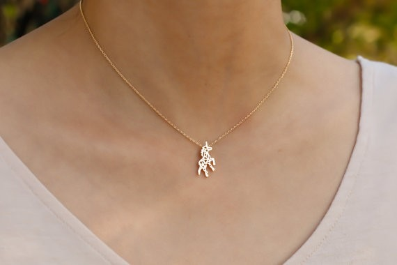 Silver Unicorn Women Necklace Rose Gold Greek Myth Unicorn Pendant