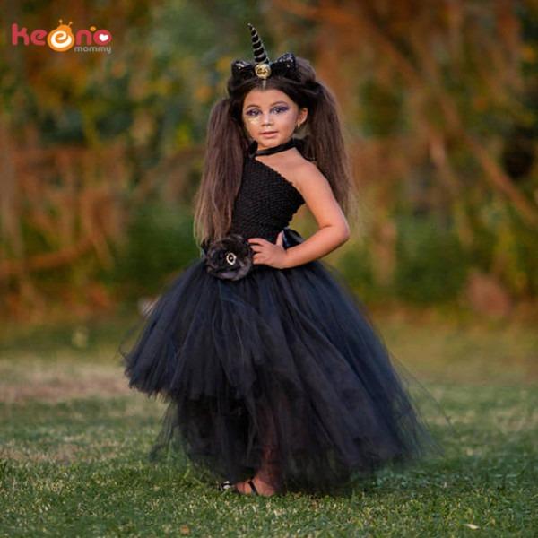 Stunning Black Unicorn Baby Tutu Dress Flower Girls Pageant Gown