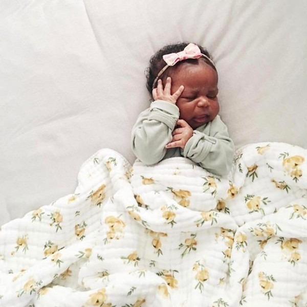 Sweet Baby Emelia With Our Yellow Rose Cotton Quilt @alissasaylor