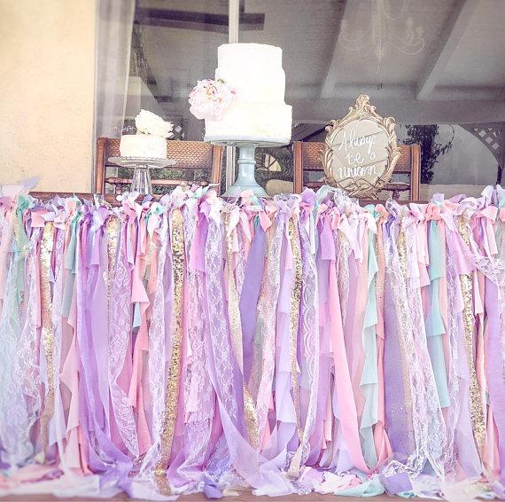Table Skirt, Unicorn Table Cover, Unicorn Tablecloth, Unicorn