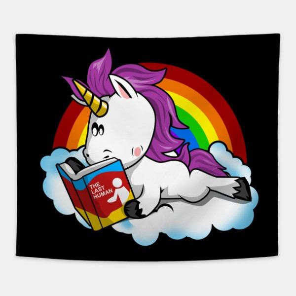 The Last Human Unicorn Reading Book Funny T