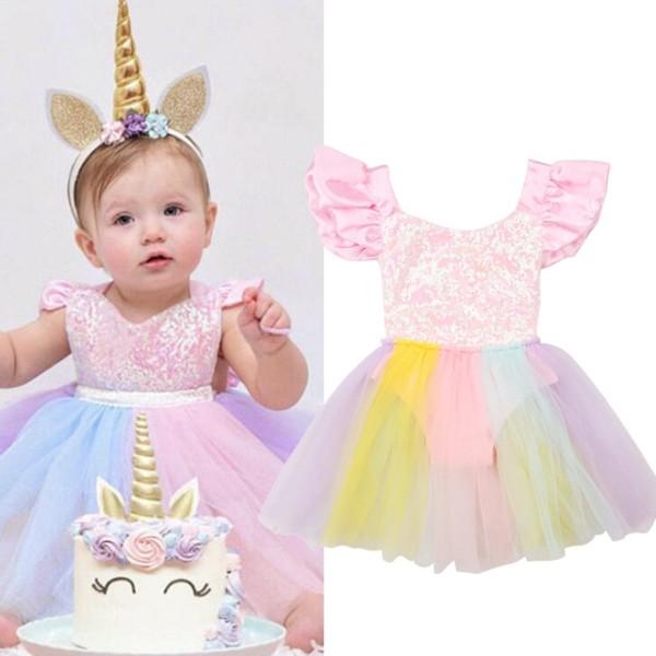Toddler Girls Unicorn Dress Baby Girls Rainbow Colors Tulle Dress