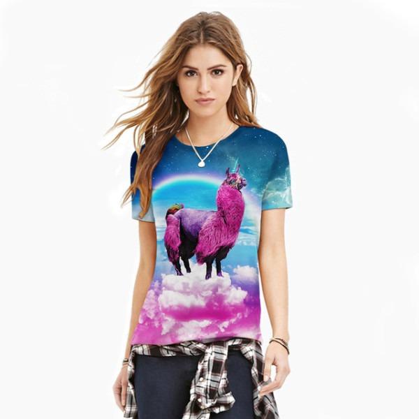 Unicorn 3d Printed Women T Shirt Rainbow Colour Round Collar T
