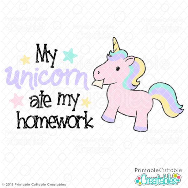 Unicorn Ate My Homework Svg File