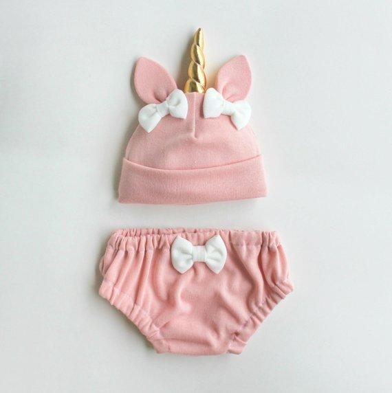 Unicorn Baby Hat Bloomers Set Pink Newborn Baby Clothes