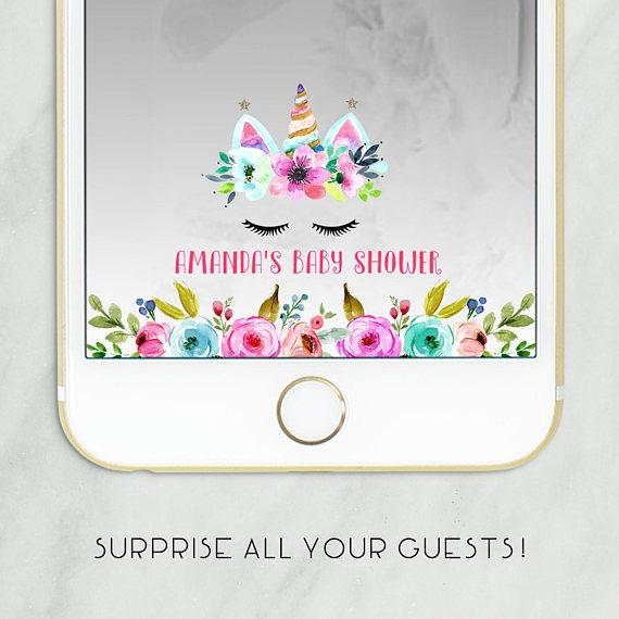 Unicorn Baby Shower Geofilter, Unicorn Birthday Geofilter Snapchat