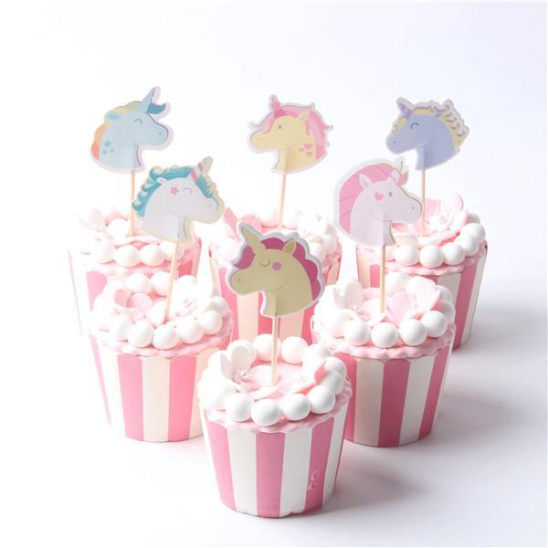Unicorn Cake Cupcake Topper Cake Picks Cartoon Party Supplies For