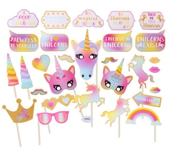 Unicorn Cake Topper Happy Birthday Flags Decoration For Family