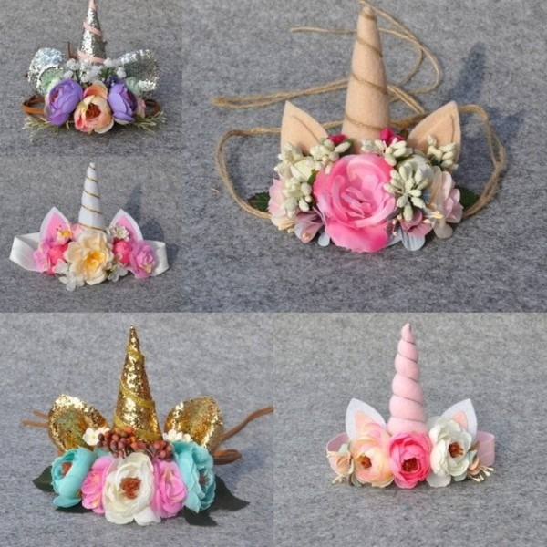 Unicorn Horn Headband Tie Back Floral Crown Handmade Flower