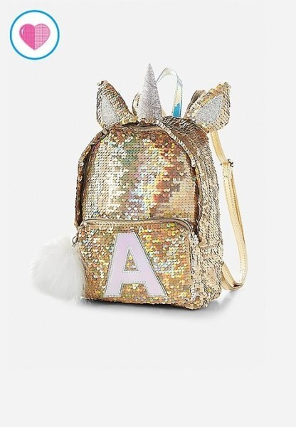 Unicorn Initial Flip Sequin Mini Backpack