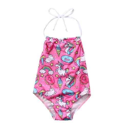 Unicorn Kids Baby Girls Bikini Tankini Beach Suit Cartoon Backless