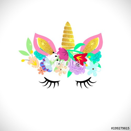 Unicorn Vector Isolated Illustration  Cute Unicorn In A Floral