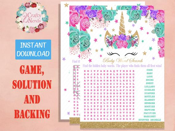 Unicorn Word Search Baby Shower Game Jpg Instant Download Hot