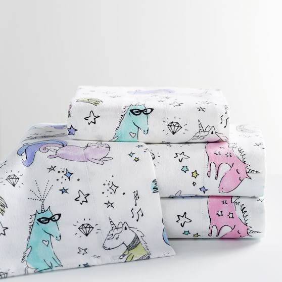 Unique Unicorn Organic Flannel Sheet Set