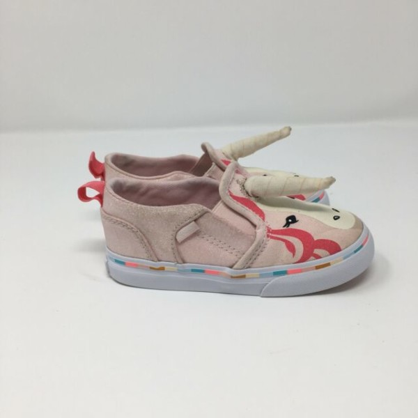 Vans Toddler Girls Asher V Pink Unicorn With Horn Sneakers Size