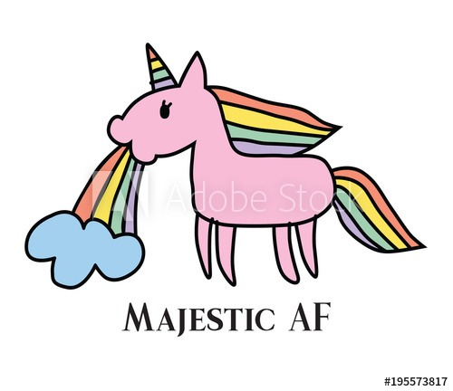 Vector Illustration Of Majestic Unicorn Puking Rainbow  Majestic