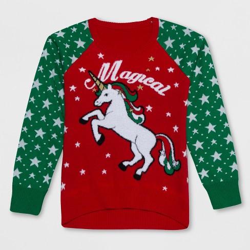 Well Worn Girls' Magical Unicorn Christmas Sweater