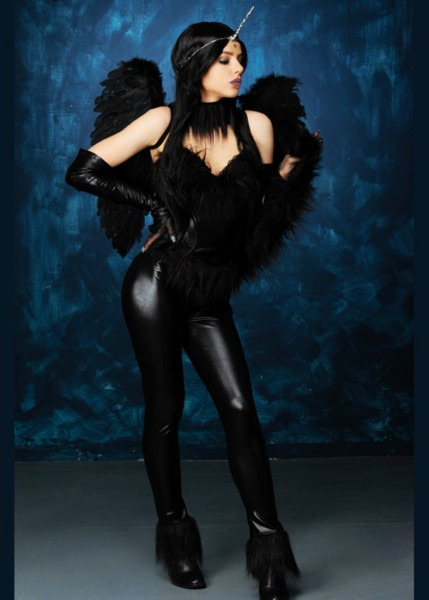 Womens Gothic Black Evil Unicorn Costume