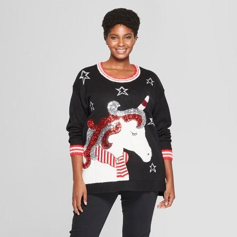 Women's Plus Size Unicorn Christmas Ugly Sweater