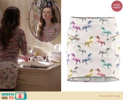Wornontv  Dorrit's Pink Purple Marle Knit Sweater And Horse Print