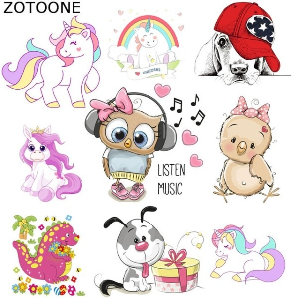 Zotoone Cute Unicorn Dinosaur Dog Iron On Patch For Clothing Music