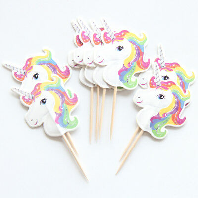12 X Unicorn Cake Picks Cupcake Toppers Flags Happy Birthday