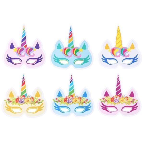 12pcs Pack Mixed Color Unicorn Face Mask Party Masks Unicorn Theme