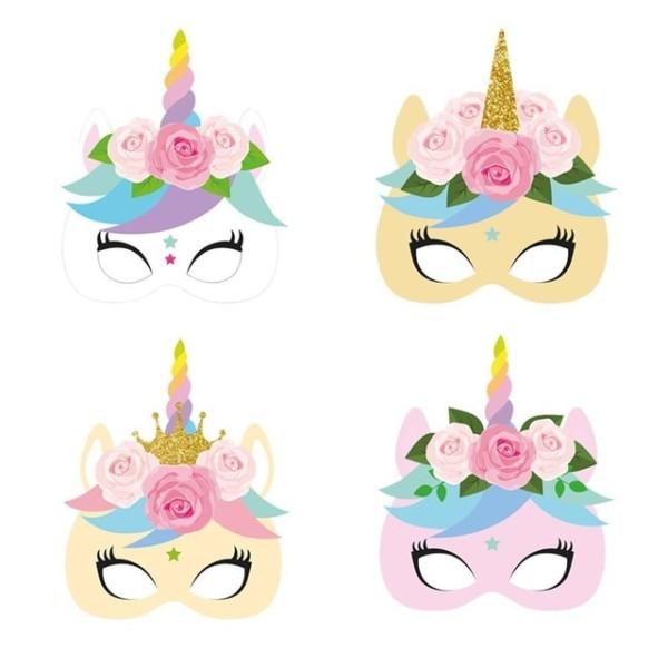 12pcs Pack Unicorn Face Paper Mask Baby Shower Party Masks Unicorn