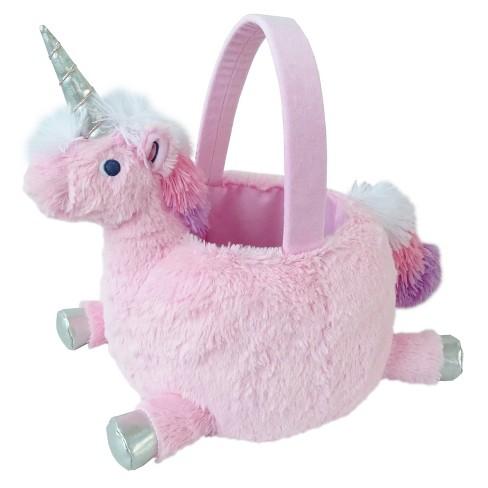 13  Easter Plush Unicorn Basket Pink