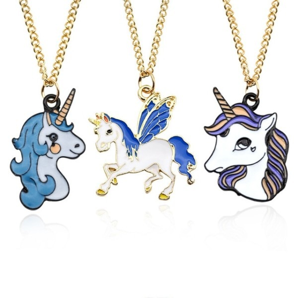 1pc Retail Women's Necklace Enamel Pendant Cute Unicorn Chain