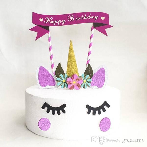 2019 Unique Unicorn Shape Design Happy Birthday Theme Cake Decor