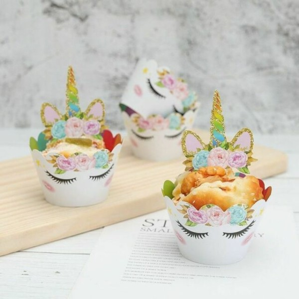 24pcs Rainbow Unicorn Cupcake Toppers Kids Birthday Party Cake