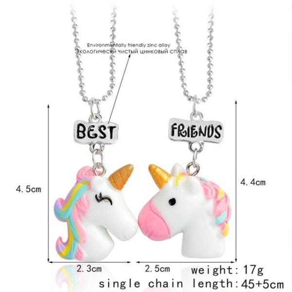 2 Pcs Set Hot Sale Cute Unicorn Pendant Best Friends Necklace For