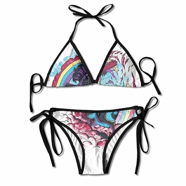 Aleisin Rainbow Zombie Unicorn Bikini Women's Summer Swimwear
