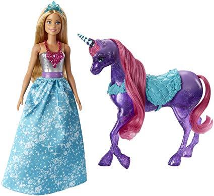 Amazon Com  Barbie Dreamtopia Princess Doll And Purple Unicorn