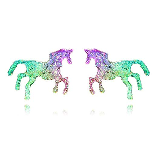 Amazon Com  Colorful Unicorn Stud Earrings Shiny Horse Stud