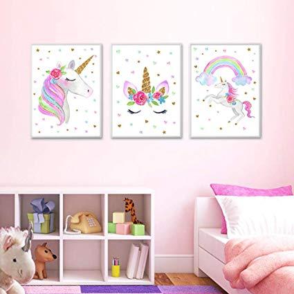 Amazon Com  Evail Unicorn Wall Posters Rainbow Unicorn Canvas Wall