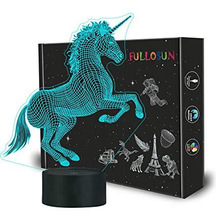 Amazon Com  Fullosun Unicorn 3d Night Light, Decorative Led
